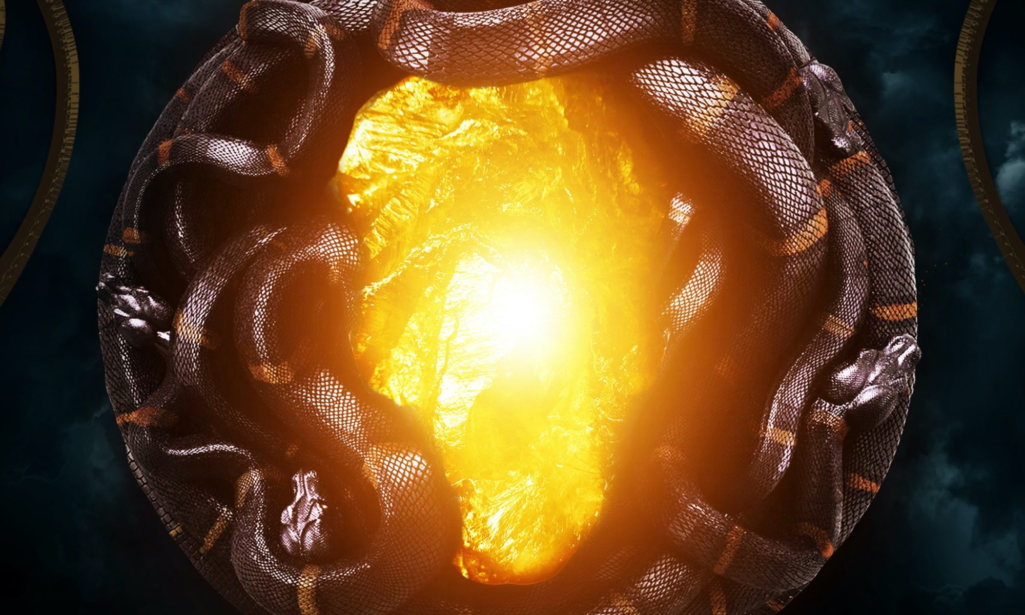 Snakes wrapped around yellow light